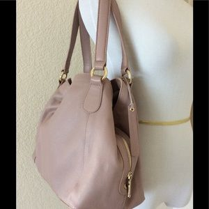 Designer Leather bag Pink mauve shoulder bag hobo